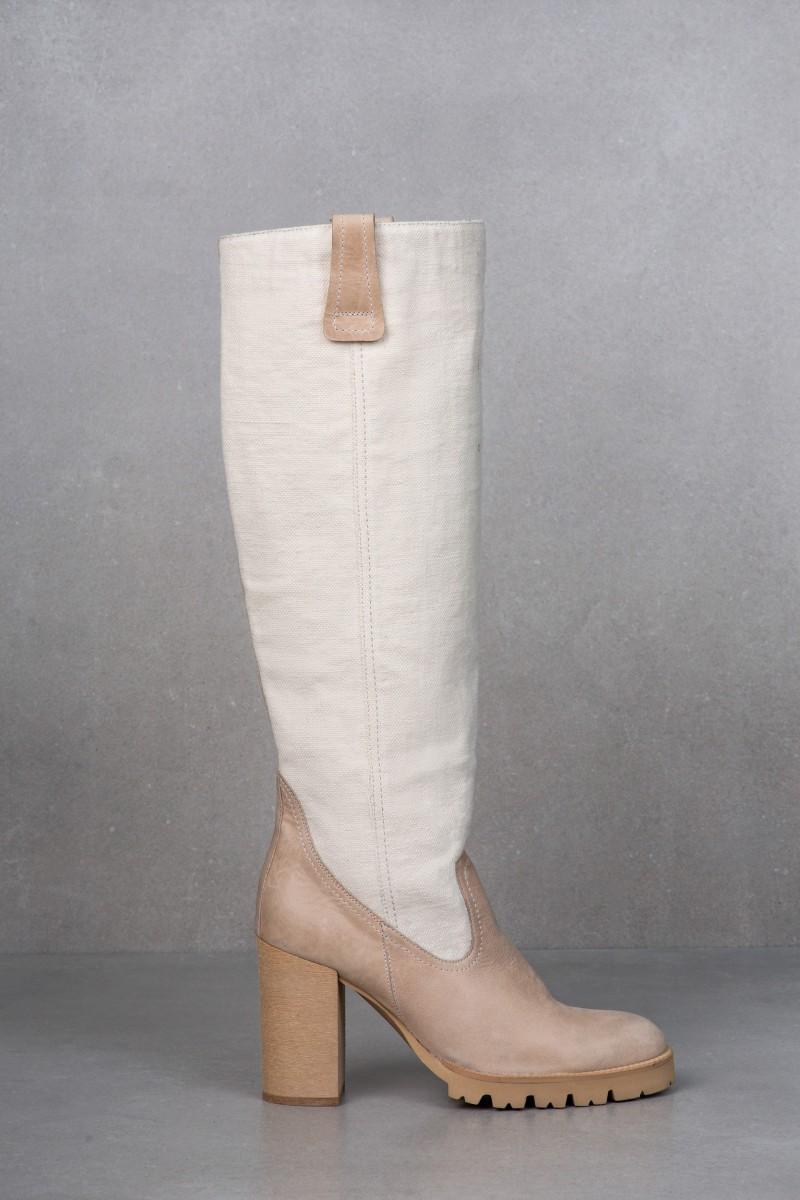 TEMIDA natural linen &beige leather...