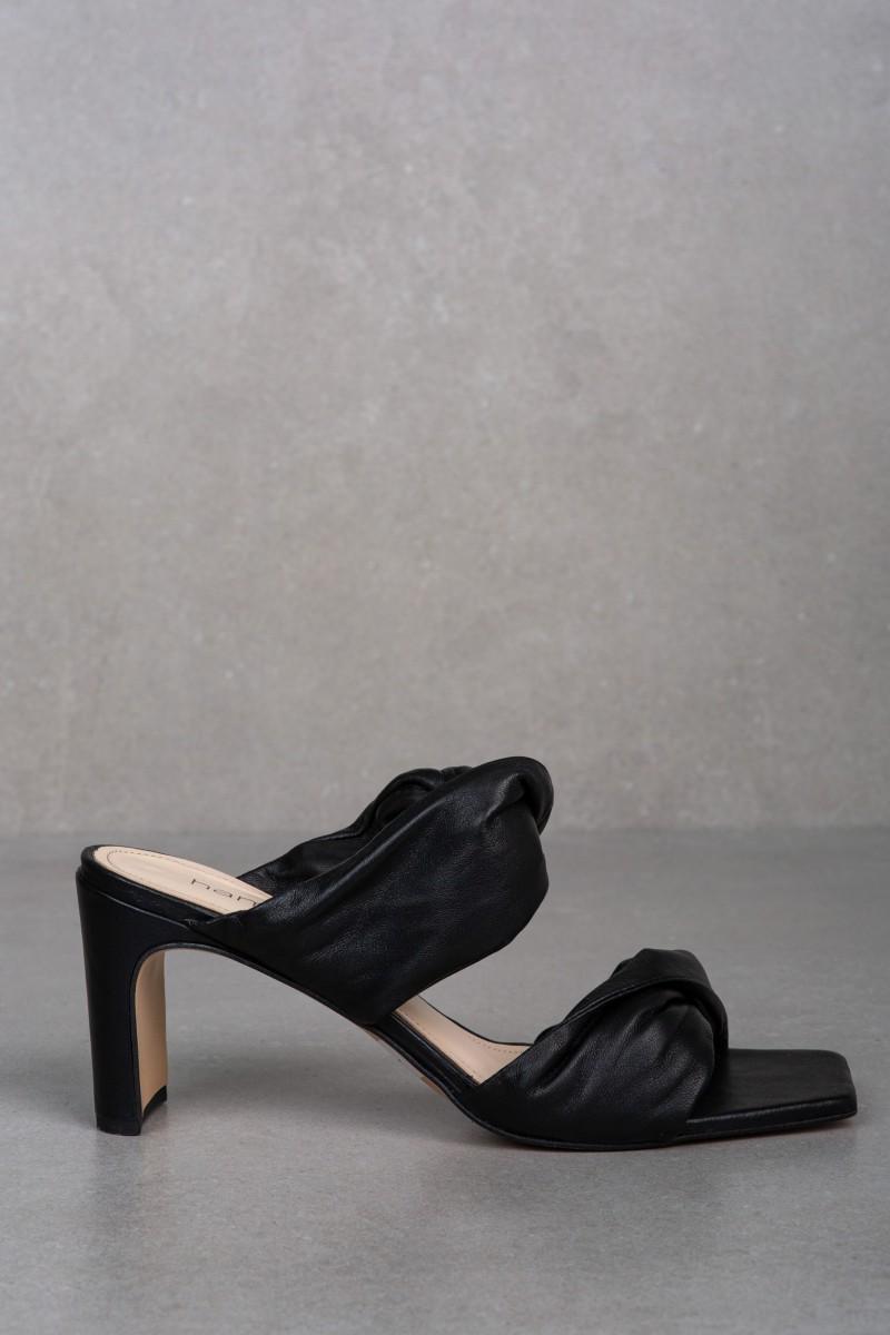 HERA black leather sandals