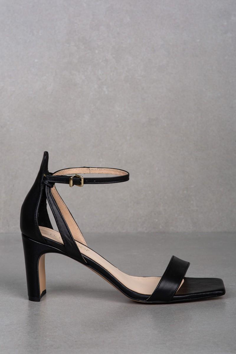 AURA black leather sandals