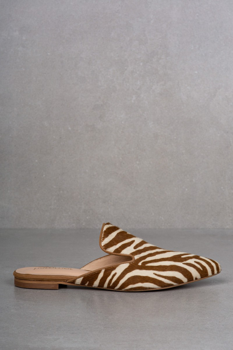 TEJA mules beige zebra