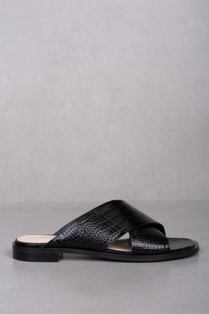 TEBE black croc-effect leather mules