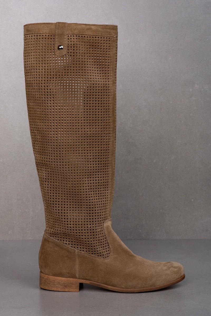 LYSSA beige velour boots