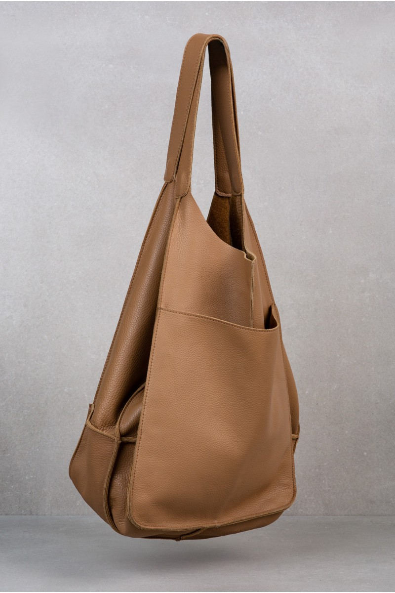 POLLY camel leather tote bag