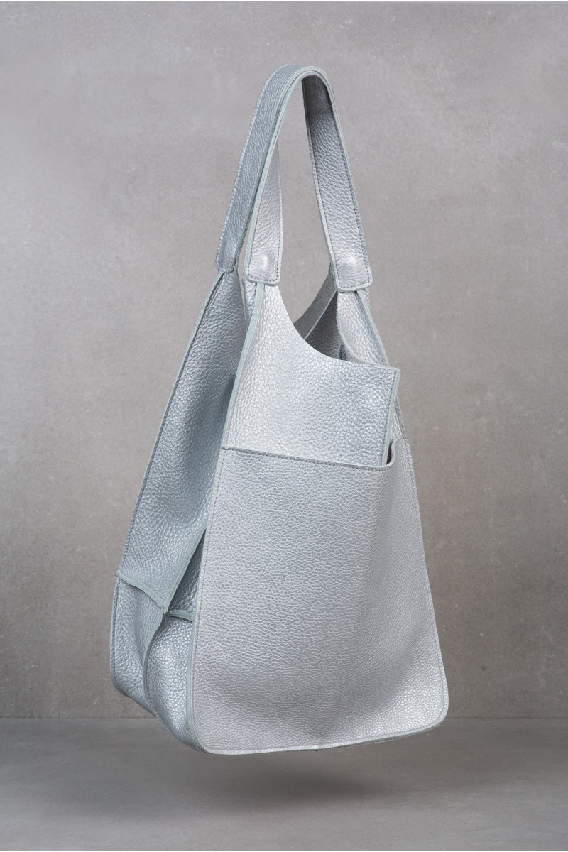POLLY silver leather tote bag