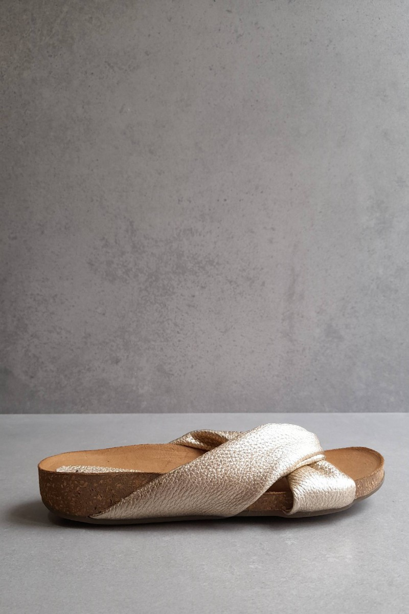 ENYO gold leather sandals