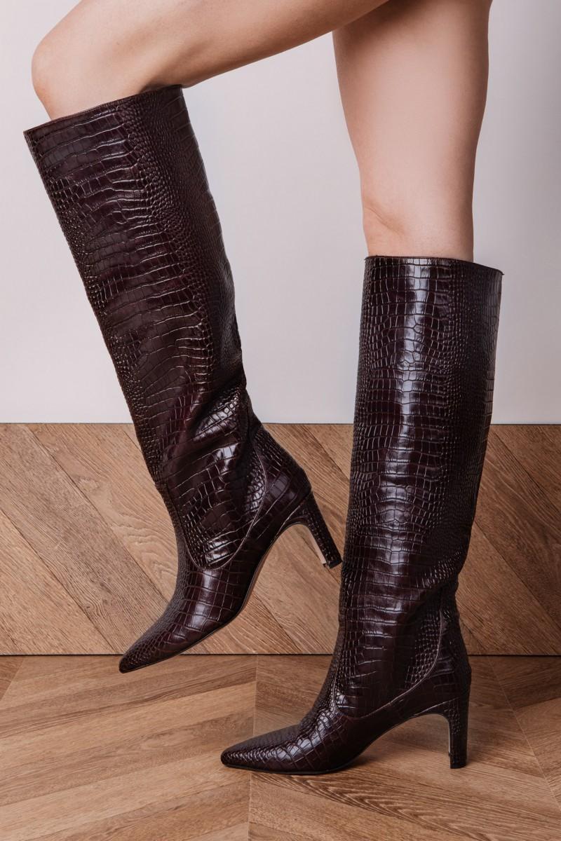 PANAMA Croc-effect leather knee-high...